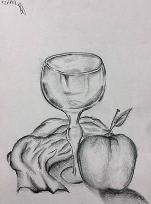 Table Cloth Drawing - The Glass And Apple by Israel Silva