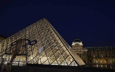 Photograph - The Glass Pyramid And Louvre Palace At Night by RicardMN Photography