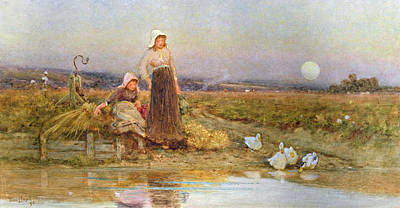 The Young Shepherdess Painting - The Gleaners by Thomas James Lloyd