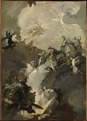 Grisaille Painting - The Glorification Of The Royal by Franz Anton Maulbertsch