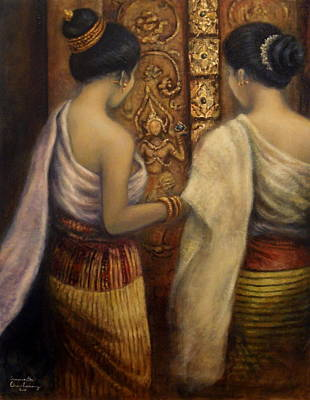 Laos Painting - The Glorious Past by Sompaseuth Chounlamany