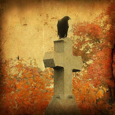 Ravens In Graveyard Photograph - The Glow Of Fall by Gothicrow Images