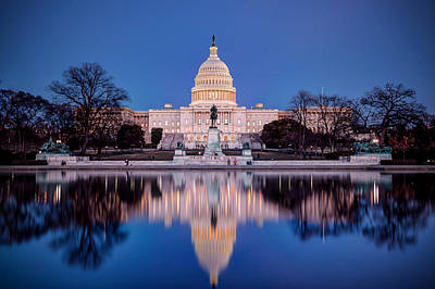 Photograph - The Glow Of The Capitol by Walt  Baker