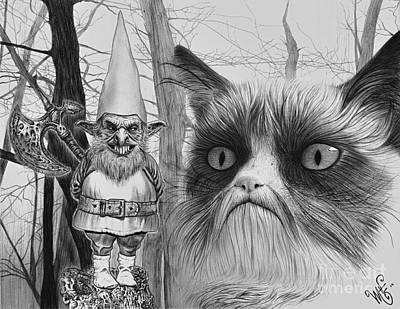 The Gnome And The Cat Print by Wave