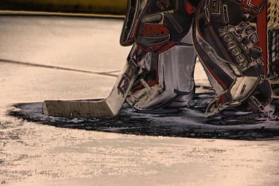 Hockey Player Photograph - The Goalies Crease by Karol Livote