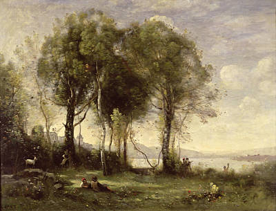 The Goatherds Of Castel Gandolfo, 1866 Oil On Canvas Art Print by Jean Baptiste Camille Corot
