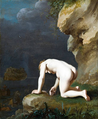 Calypso Painting - The Goddess Calypso Rescues Ulysses by Cornelis van Poelenburgh