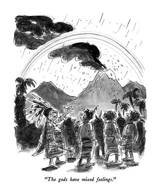 Volcano Drawing - The Gods Have Mixed Feelings by James Stevenson