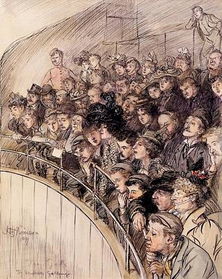 Spectators Drawing - The Gods, The Vaudeville Gallery, 1899 by Hugh Thomson