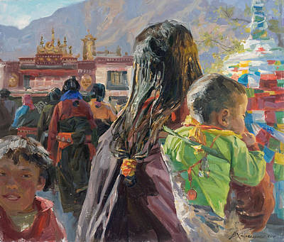 Tibet Painting - The Going Ones by Victoria Kharchenko