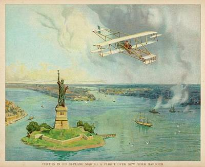 The 'gold Bug' Biplane  Designed Art Print by Mary Evans Picture Library
