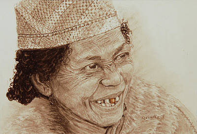 Drawing - The Gold Tooth In Sepia by Quwatha Valentine