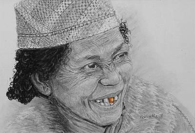 Drawing - The Gold Tooth by Quwatha Valentine