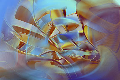Digital Art - The Golden Blues - Abstract by rd Erickson
