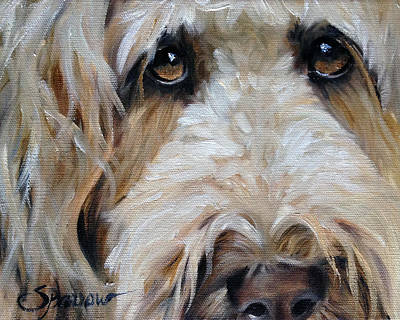 Golden Doodle Painting - The Golden Child by Mary Sparrow