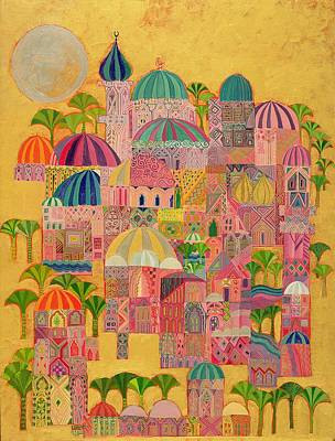 Mosque Photograph - The Golden City, 1993-94 Acrylic On Canvas by Laila Shawa