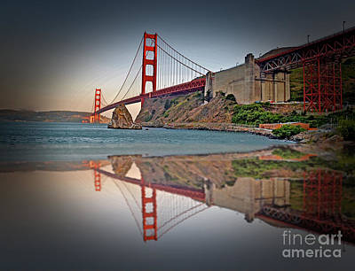 Jim Fitzpatrick Digital Art - The Golden Gate Bridge And Reflection by Jim Fitzpatrick