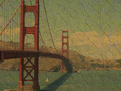 Bay Area Mixed Media - The Golden Gate by Kiki Art