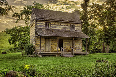 Log Cabin Photograph - The Golden Hour by Heather Applegate