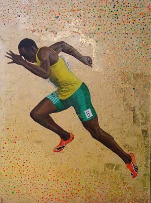 Usain Bolt Mixed Media - The Golden Shot by Gary Hogben