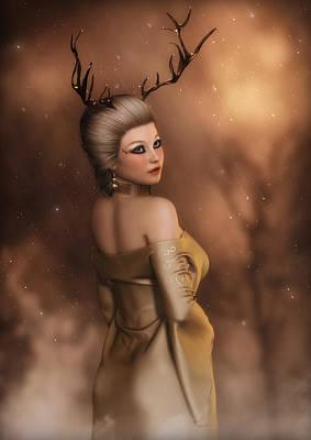 Digital Art - The Golden Stag  by Rachel Dudley