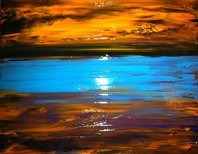 Painting - The Golden Sunset by Kicking Bear  Productions