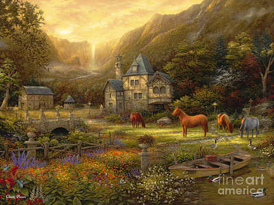 English Horse Painting - The Golden Valley by Chuck Pinson