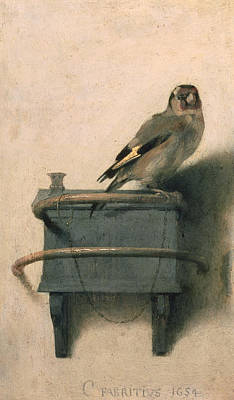 Signed . Nature Painting - The Goldfinch by Carel Fabritius