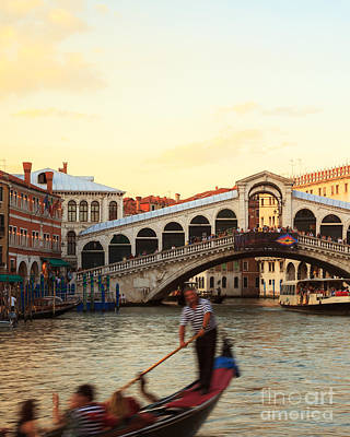 Rialto Photograph - The Gondolier by Matteo Colombo