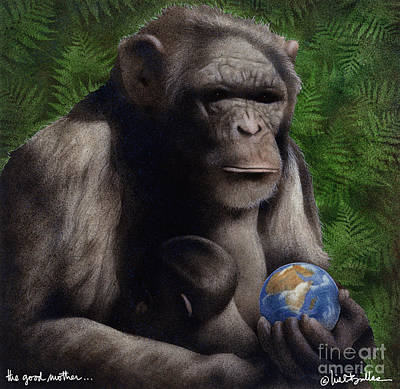 Chimpanzee Painting - The Good Mother... by Will Bullas