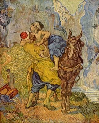 Netherlands Painting - The Good Samaritan - After Delacroix by Vincent van Gogh