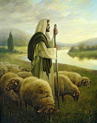 Sheep Painting - The Good Shepherd by Greg Olsen