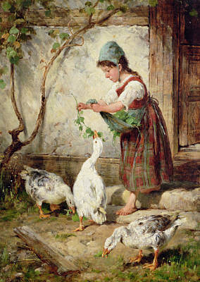 Ducklings Painting - The Goose Girl by Antonio Montemezzano
