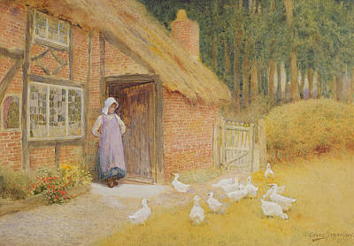 Watercolor Door Painting - The Goose Girl by Arthur Claude Strachan