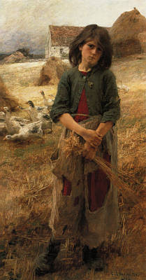Goose Digital Art - The Goose Girl Of Mezy by Leon Augustin L hermitte