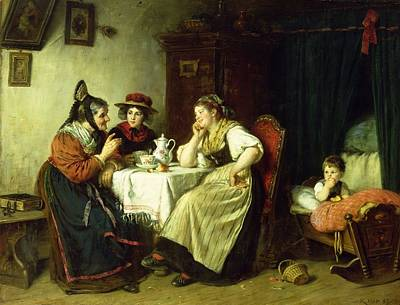 The Gossips, 1887 Oil On Canvas Art Print by Rudolf Epp
