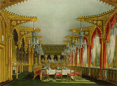 The Gothic Dining Room At Carlton House Print by Charles Wild