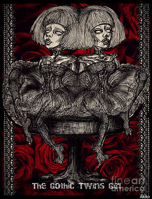 The Gothic Twin Girls Art Print