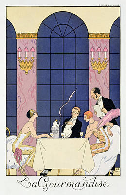 The Gourmands Art Print by Georges Barbier
