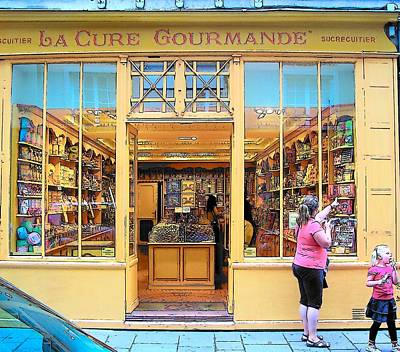 Street Scene Digital Art - The Gourmet Shop Paris by Jan Matson