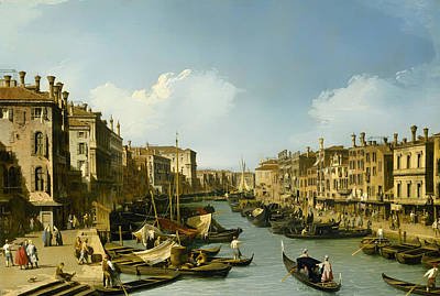 Antique Italian Oil Painting - The Grand Canal Near The Rialto Bridge by Mountain Dreams