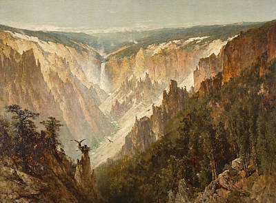 Striking Painting - The Grand Canyon Of The Yellowstone by Thomas Hill