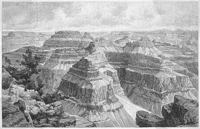 Grand Canyon Drawing - The Grand Canyon Viewed From  Point by Mary Evans Picture Library