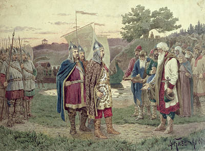 The Grand Duke Meeting With The People Of A Slav Town In The 9th Century, 1880 Wc On Paper Art Print by Aleksei Danilovich Kivshenko