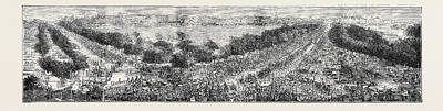 Top View Drawing - The Grand Durbar At Bombay View Of The Esplanade by English School