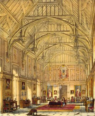 Wood Table Drawing - The Grand Hall, Biddington, Surrey by Joseph Nash