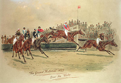 Crt Wall Art - Painting - The Grand National Over The Water by William Verner Longe