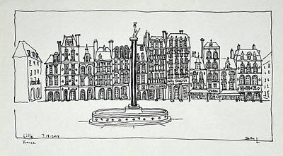 Pen And Ink Drawing Photograph - The Grand Place, Lille, France by Richard Lawrence
