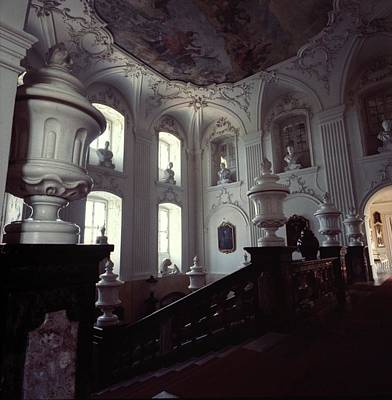 The Grand Staircase At Schloss Fasanerie Art Print by Horst P. Horst