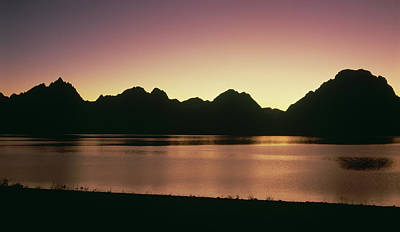 The Grand Tetons Silhouetted Art Print by Panoramic Images